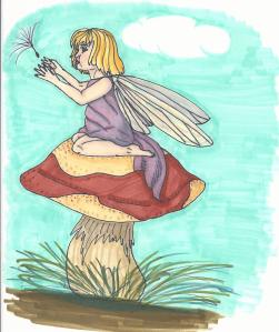 A wee fairy sending a dandelion seed off into the wind.